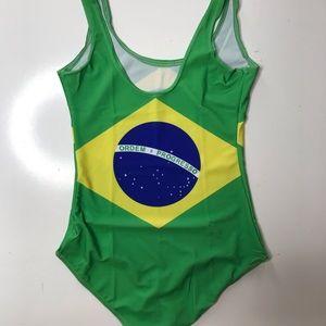 Too Posh Swim - Brazil Flag Swimsuit One Piece Brasil Bikini